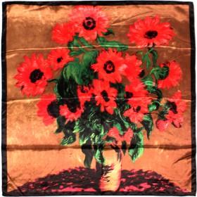 Платок головной 90*90см,    полиэстер 100%,    плетение атлас,    рис 91-201-01-40,    коричневый