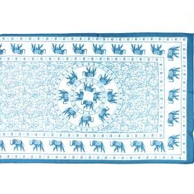 Шарф 56*160см,    полиэстер 100%,    плетение шифон,    рис слон,    голубой