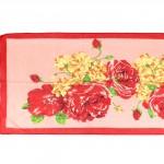 Шарф 56*150см,    полиэстер 100%,    плетение шифон,    рис букет с маками,    розовый