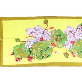 Шарф 56*150см,    полиэстер 100%,    плетение шифон,    рис букет с маками,    зеленый