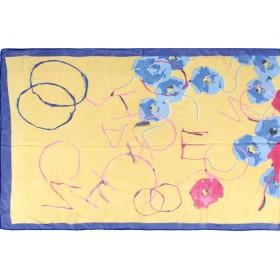 Шарф 56*150см,    полиэстер 100%,    плетение шифон,    рис письмо,    жел+синий