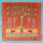 Платок шейный 65*65см,    полиэстер 100%,    плетение шифон,    рис индия,    рыжий+голубой