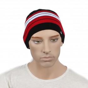 Шапка мужская DMD-КО-029  (одинарная);  шерсть 60%,  полиэстер 40%,  черный+красный 170021
