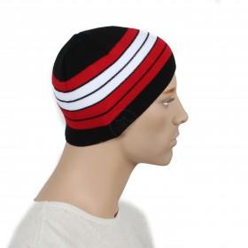 Шапка мужская DMD-КО-029    (одинарная);    шерсть 60%,    полиэстер 40%,    черный+красный