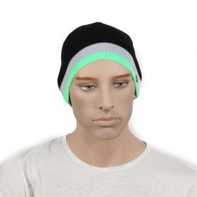 Шапка мужская DMD-КО-030  (одинарная);  шерсть 60%,  полиэстер 40%,  черный+зеленый 170025