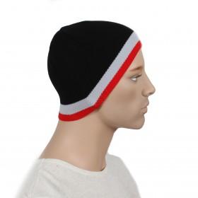 Шапка мужская DMD-КО-030  (одинарная);  шерсть 60%,  полиэстер 40%,  черный+красный 170026