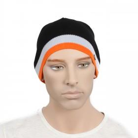 Шапка мужская DMD-КО-030  (одинарная);  шерсть 60%,  полиэстер 40%,  черный+оранж 170029