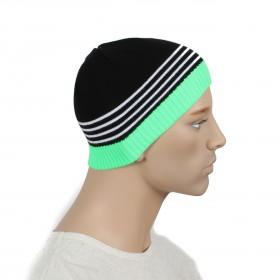 Шапка мужская DMD-КО-031  (одинарная);  шерсть 60%,  полиэстер 40%,  черный+зеленый 170030