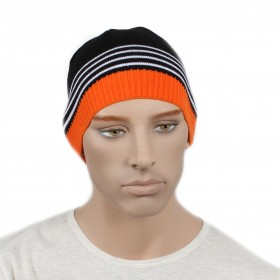 Шапка мужская DMD-КО-031  (одинарная);  шерсть 60%,  полиэстер 40%,  черный+оранж 170031