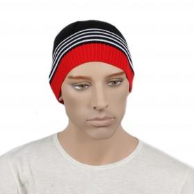 Шапка мужская DMD-КО-031  (одинарная);  шерсть 60%,  полиэстер 40%,  черный+красный 170033