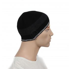 Шапка мужская DMD-КО-033    (одинарная);    шерсть 60%,    полиэстер 40%,    черный+серый