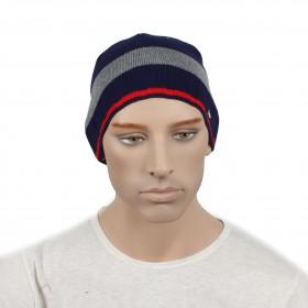 Шапка мужская DMD-КО-033  (одинарная);  шерсть 60%,  полиэстер 40%,  синий+серый 170039
