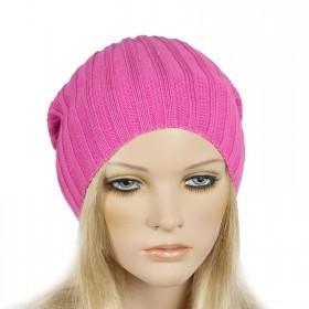 Шапка женская Tella-Лапша    (одинарная) ,    Шерсть-30%;    Акрил-70%,    неон  розовый SALE