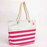 Сумка пляжная текстиль 1502   (ручки-канаты) ,    1 отдел,    розовый