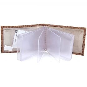 Визитница PRT-ФВ-1 (18 листов)  натуральная кожа бежевый кайман  171683