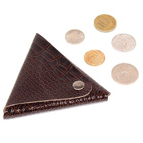 Футляр для монет Premier-F-63 натуральная кожа корич. темный крокодил мелкий   (112)