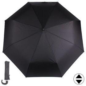 Зонт муж ТриСлона-560,  R=58см,  3слож,  суперавт,  8спиц,  ручка-крюк,  полиэстер,  черный 173394