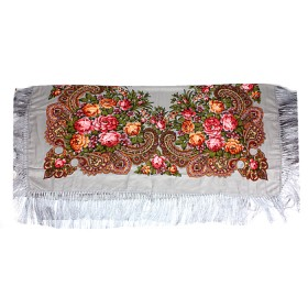 Платок головной 120*120см шерсть 80%,   вискоза 20%,    плетение вискоза,    рис павлопосад -6,    серый
