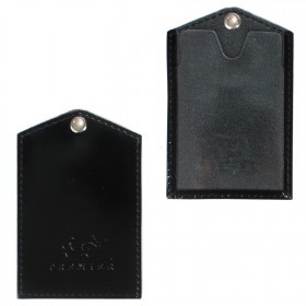 Обложка пропуск/карточка/проездной Premier-V-42 натуральная кожа черный гладкий   (89)