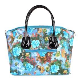 Сумка женская искусственная кожа ADEL-13/ЗФ,    1отд+карм/пер,    плечевой ремень,    син+цветы SALE