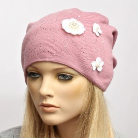 Шапка женская Veles-МК-01  (двойная);  Шерсть-50%;  Акрил-50%,  розовый  (белые цветы)  180272