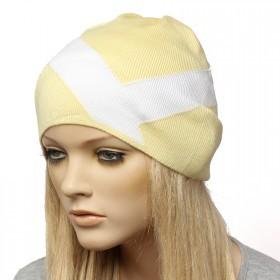 Шапка-колпак женская Ver-V 002    (одинарная) ,   55%Вискоза,    45%Полиэстр,    желтый/белый SALE