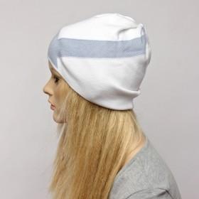 Шапка-колпак женская Ver-V 002    (одинарная) ,   55%Вискоза,    45%Полиэстр,    белый/серый SALE