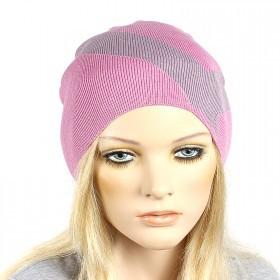 Шапка-колпак женская Ver-V 002    (одинарная) ,   55%Вискоза,    45%Полиэстр,    розовый/сиреневый SALE