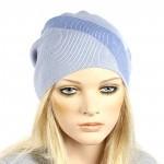 Шапка-колпак женская Ver-V 002    (одинарная) ,   55%Вискоза,    45%Полиэстр,    голубой/синий SALE