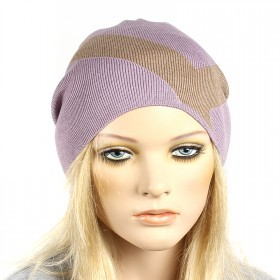 Шапка-колпак женская Ver-V 002    (одинарная) ,   55%Вискоза,    45%Полиэстр,    пурпурный/коричневый SALE