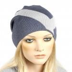 Шапка-колпак женская Ver-V 002    (одинарная) ,   55%Вискоза,    45%Полиэстр,    серый/голубой SALE
