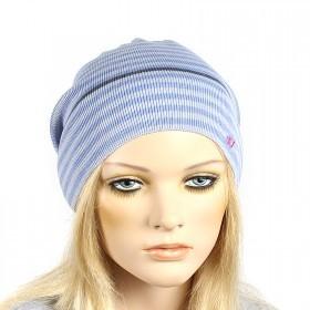 Шапка-колпак женская Ver-Полосатик  (одинарная),  55%Вискоза,  45%Полиэстр;   серый/голубой SALE 181132