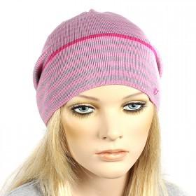 Шапка-колпак женская Ver-Полосатик  (одинарная),  55%Вискоза,  45%Полиэстр;   розовый/серый SALE 181136