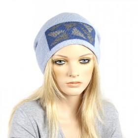 Шапка-колпак женская Ver-Осколки   (двойной), 30% Шерсть, 70%Акрил,  голубой SALE 181160