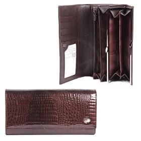 Кошелек женский натуральная кожа A-72032-3N-coffee,  защелка внутри,  7отд,  9 карм,  коричневый лак 181704