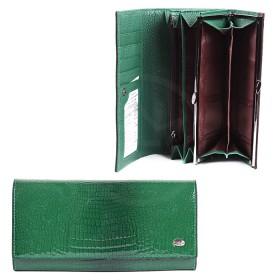 Кошелек женский натуральная кожа A-72032-3N-green,  защелка внутри,  7отд,  9 карм,  зеленый лак 181705