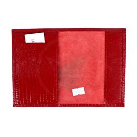Обложка для паспорта PRT-П-22  (5внут карм)  натуральная кожа бордо ящерица 183075