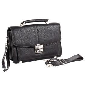 Сумка мужская искусственная кожа Cantlor-W 9083A-01  (борсетка),  5отд,  1внеш+7внут карм,  ручка-петля,  плечевой ремень,  черный 183242
