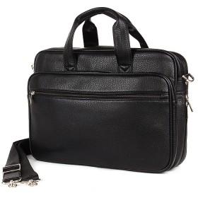 Портфель мужской искусственная кожа Cantlor-710A-01,  3отд+отд д/ноут,  3внеш+3внут карм,  плечевой ремень,  черный 185085