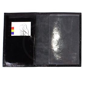 """Обложка для паспорта PRT-П-23  (5внут карм)  натуральная кожа черный наплак""""Porte""""  185577"""