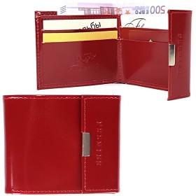 Портмоне женское Premier-М-502 натуральная кожа 1 отд,    4 карм,    красный гладкий   (135)
