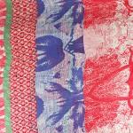 Палантин 90*180см полиэстер 100%,    плетение хлопок,    рис 38_07,    красный+синий