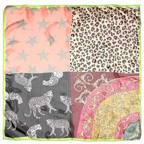 Платок шейный 65*65см полиэстер 100%,    плетение  шифон,    рис леопарды,    зеленый