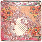 Платок шейный 65*65см полиэстер 100%,    плетение  шифон,    рис 311_39,    оранжевый