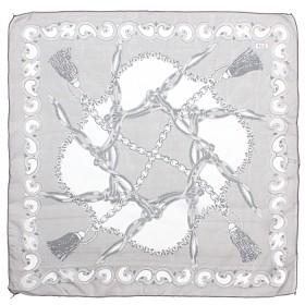 Платок шейный 50*50см полиэстер 100%,    плетение  шифон,    рис 311_47,    серый