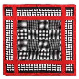 Платок шейный 50*50см полиэстер 100%,    плетение  атлас,    рис 418_40,    черный+красный