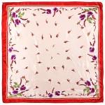 Платок шейный 50*50см полиэстер 100%,  плетение  атлас,  рис 38_22,  кремовый+крас 187204