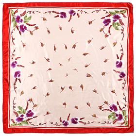 Платок шейный 50*50см полиэстер 100%,    плетение  атлас,    рис 38_22,    кремовый+крас