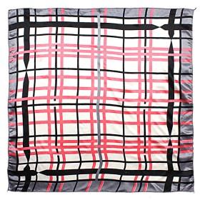 Платок шейный 50*50см полиэстер 100%,    плетение  атлас,    рис 38_27,    серый+розовый