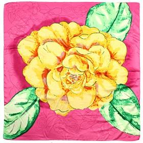 Платок головной 85*85см,    полиэстер 60%,    шелк 40%,    плетение атлас,    рис 4715,    розовый+желтый